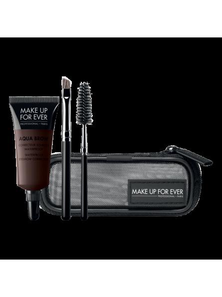 Make Up For Ever AQUA BROW KIT  vandeniui atsparių antakių dažų rinkinys su šepetėliu ir šukutėmis, 7 ml.