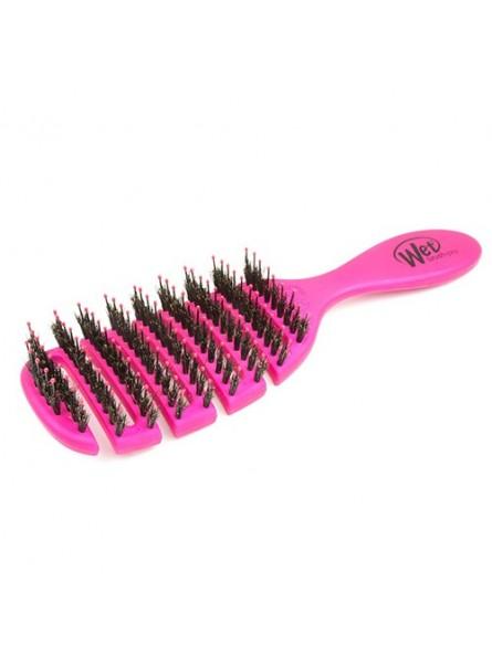 WETBRUSH FLEX DRY SHINE ENHANCER plaukų džiovinimo šepetys su natūraliais šerno šereliais rožinis