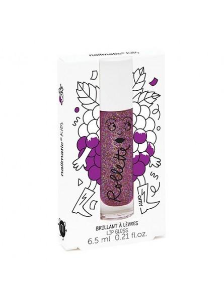 Nailmatic KIDS BLACKBERRY Rollette Lip Gloss gervuogių skonio lūpų blizgesys, 6,5 ml.