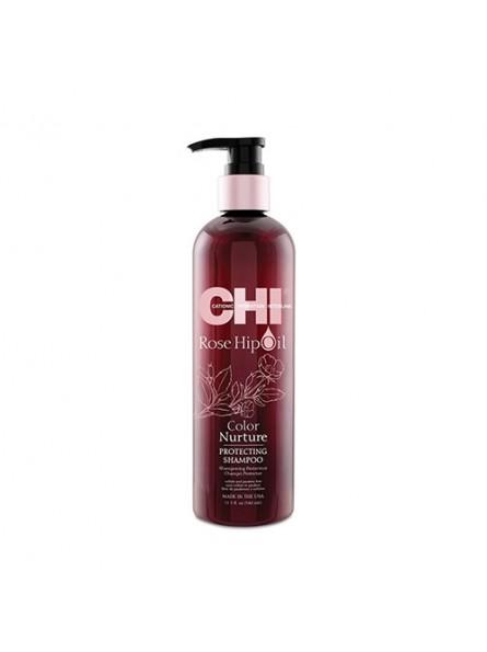 CHI ROSE HIP OIL šampūnas dažytiems plaukams su erškėtuogių aliejumi, 340 ml.
