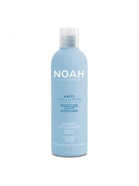 NoahANTI POLLUTION DETOX intensyviai drėkinantis šampūnas su alijošiaus ir aliejinės moringos ekstraktais, 250 ml.