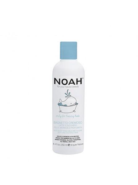 Noah KIDS drėkinantis, kreminis dušo losjonas su pienu ir cukrumi vaikams, 250 ml.