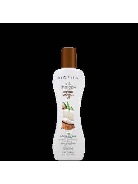 BIOSILK SILK THERAPY 3-in-1 šampūnas/kondicionierius/kūno prausiklis, 167 ml.