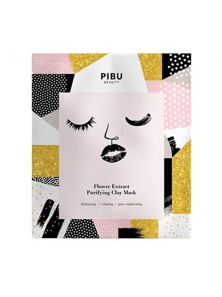 PIBU Beauty FLOWER EXTRACT PURIFYING CLAY lakštinė, gėlių ekstrakto, valanti molio kaukė, 1 vnt.