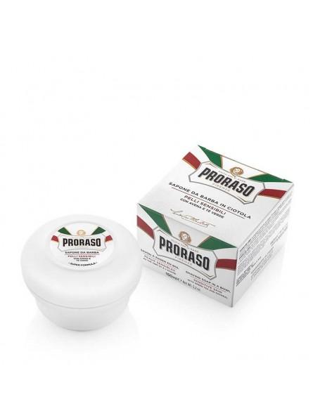 Proraso WHITE LINE SHAVING SOAP IN A JAR raminantis skutimosi muilas jautriai odai, 150 ml.