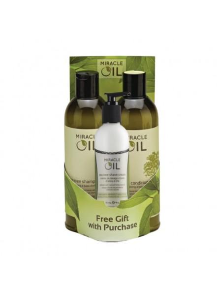 Miracle Oil SET universalus rinkinys plaukų ir kūno priežiūrai (šampūnas, kondicionierius ir skutimosi kremas)