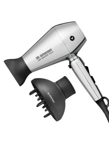 HH Simonsen COMPACT DRYER MOONLIGHT CHROME Limited Edition plaukų džiovintuvas rinkinyje su difuzorium