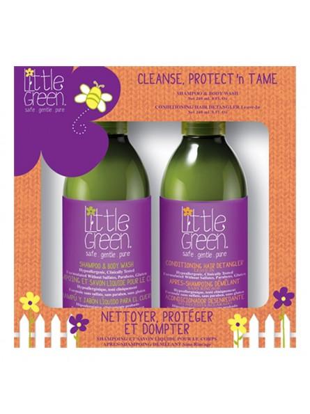 Little Green CLEANSE, PROTECT'N TAME vaikiškas plaukų priežiūros priemonių rinkinys
